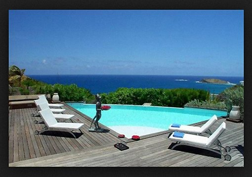 Overlooking Turquoise Waters of Caribbean Sea Southeast of St Marrten